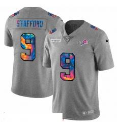 Men Detroit Lions 9 Matthew Stafford Men Nike Multi Color 2020 NFL Crucial Catch NFL Jersey Greyheather