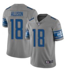 Nike Detroit Lions 18 Geronimo Allison Gray Men Stitched NFL Limited Inverted Legend Jersey