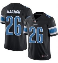 Nike Detroit Lions 26 Duron Harmon Black Men Stitched NFL Limited Rush Jersey