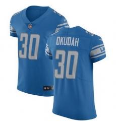 Nike Lions 30 Jeff Okudah Blue Team Color Men Stitched NFL Vapor Untouchable Elite Jersey