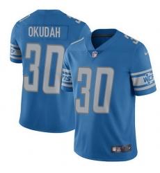 Nike Lions 30 Jeff Okudah Blue Team Color Men Stitched NFL Vapor Untouchable Limited Jersey