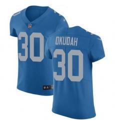 Nike Lions 30 Jeff Okudah Blue Throwback Men Stitched NFL Vapor Untouchable Elite Jersey