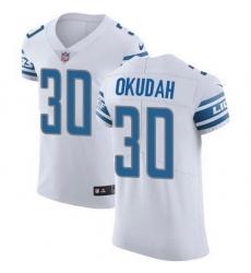 Nike Lions 30 Jeff Okudah White Men Stitched NFL New Elite Jersey