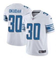 Nike Lions 30 Jeff Okudah White Men Stitched NFL Vapor Untouchable Limited Jersey