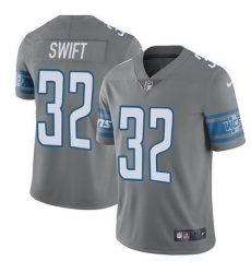 Nike Lions 32 D 27Andre Swift Gray Men Stitched NFL Limited Rush Jersey