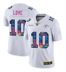 Green Bay Green Bay Green Bay Green Bay Packers 10 Jordan Love Men White Nike Multi Color 2020 NFL Crucial Catch Limited NFL Jersey