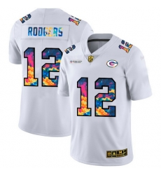 Green Bay Green Bay Green Bay Green Bay Packers 12 Aaron Rodgers Men White Nike Multi Color 2020 NFL Crucial Catch Limited NFL Jersey
