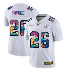 Green Bay Green Bay Green Bay Green Bay Packers 26 Darnell Savage Jr  Men White Nike Multi Color 2020 NFL Crucial Catch Limited NFL Jersey