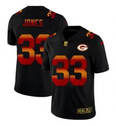 Green Bay Green Bay Green Bay Green Bay Packers 33 Aaron Jones Men Black Nike Red Orange Stripe Vapor Limited NFL Jersey