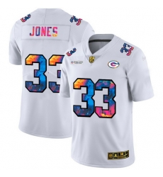 Green Bay Green Bay Green Bay Green Bay Packers 33 Aaron Jones Men White Nike Multi Color 2020 NFL Crucial Catch Limited NFL Jersey