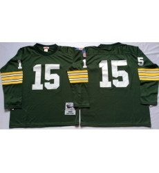 Men Green Bay Green Bay Packers 15 Bart Starr Green Long Sleeve M&N Throwback Jersey