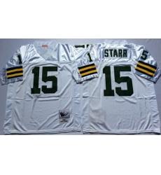 Men Green Bay Green Bay Packers 15 Bart Starr White M&N Throwback Jersey