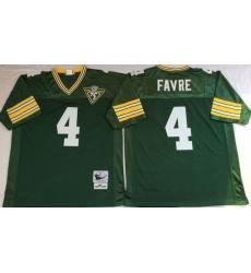 Men Green Bay Green Bay Packers 4 Brett Favre Green M&N Throwback Jersey
