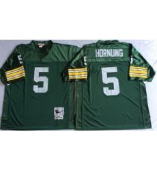 Men Green Bay Green Bay Packers 5 Paul Hornung Green M&N Throwback Jersey