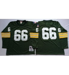 Men Green Bay Green Bay Packers 66 Ray Nitschke Green Long Sleeve M&N Throwback Jersey