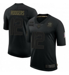 Men Nike Green Bay Packers 12 Aaron Rodgers Black 2020 Salute To Service Limited Jersey