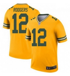 Men Nike Green Bay Packers 12 Aaron Rodgers Legend Gold Jersey