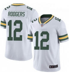 Men Nike Green Bay Packers 12 Aaron Rodgers White Vapor Limited Jersey