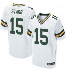Men Nike Green Bay Packers 15 Bart Starr Elite White NFL Jersey