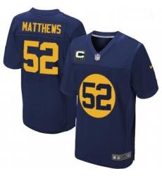 Men Nike Green Bay Packers 52 Clay Matthews Elite Navy Blue Alternate C Patch NFL Jersey