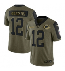 Men's Green Bay Packers Aaron Rodgers Nike Olive 2021 Salute To Service Limited Player Jersey