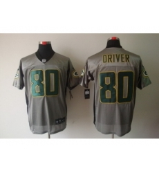 Nike Green Bay Packers 80 Donald Driver Grey Elite Shadow NFL Jersey