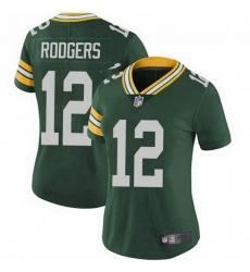 Women Nike Green Bay Packers 12 Aaron Rodgers Green Vapor Limited Jersey