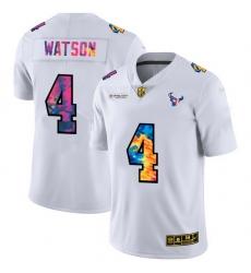 Houston Texans 4 Deshaun Watson Men White Nike Multi Color 2020 NFL Crucial Catch Limited NFL Jersey