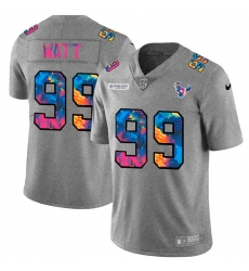 Houston Texans 99 J J  Watt Men Nike Multi Color 2020 NFL Crucial Catch NFL Jersey Greyheather