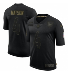 Men's Houston Texans #4 Deshaun Watson Black Nike 2020 Salute To Service Limited Jersey