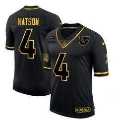 Nike Houston Texans 4 Deshaun Watson Black Gold 2020 Salute To Service Limited Jersey