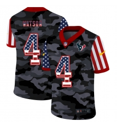 Nike Houston Texans 4 Deshaun Watson Camo 2020 USA Flag Salute To Service Limited Jersey
