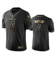 Texans 4 Deshaun Watson Black Men Stitched Football Limited Golden Edition Jersey