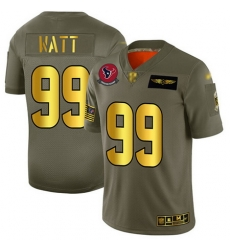 Texans 99 J J  Watt Camo Gold Men Stitched Football Limited 2019 Salute To Service Jersey