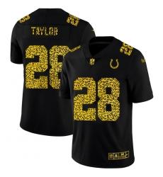 Indianapolis Colts 28 Jonathan Taylor Men Nike Leopard Print Fashion Vapor Limited NFL Jersey Black