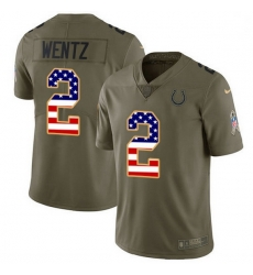 Men Indianapolis Colts 2 Carson Wentz Olive USA Flag Men Stitched NFL Limited 2017 Salute To Service Jersey