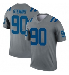 Men Indianapolis Colts Grover Stewart 90 Legend Grey Sitched NFL Limited Jersey