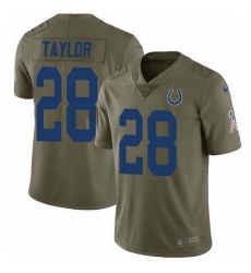 Nike Colts 28 Jonathan Taylor Olive Men Stitched NFL Limited 2017 Salute To Service Jersey