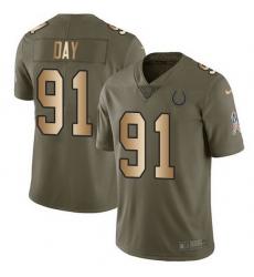 Nike Colts 91 Sheldon Day Olive Gold Men Stitched NFL Limited 2017 Salute To Service Jersey