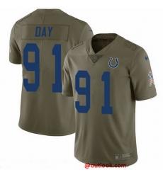 Nike Colts 91 Sheldon Day Olive Men Stitched NFL Limited 2017 Salute To Service Jersey