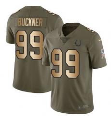 Nike Colts 99 DeForest Buckner Olive Gold Men Stitched NFL Limited 2017 Salute To Service Jersey