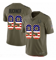 Nike Colts 99 DeForest Buckner Olive USA Flag Men Stitched NFL Limited 2017 Salute To Service Jersey