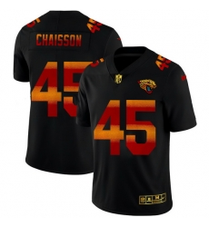 Jacksonville Jaguars 45 K 27Lavon Chaisson Men Black Nike Red Orange Stripe Vapor Limited NFL Jersey