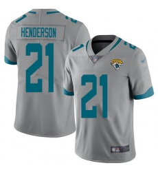 Nike Jaguars 21 C J  Henderson Silver Men Stitched NFL Limited Inverted Legend Jersey