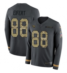 Nike Jaguars 88 Tyler Eifert Anthracite Salute to Service Men Stitched NFL Limited Therma Long Sleeve Jersey