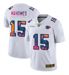 Kansas City Chiefs 15 Patrick Mahomes Men White Nike Multi Color 2020 NFL Crucial Catch Limited NFL Jersey