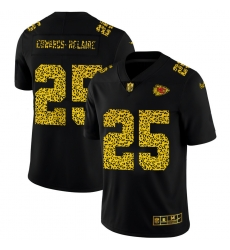 Kansas City Chiefs 25 Clyde Edwards Helaire Men Nike Leopard Print Fashion Vapor Limited NFL Jersey Black