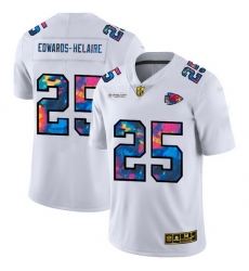 Kansas City Chiefs 25 Clyde Edwards Helaire Men White Nike Multi Color 2020 NFL Crucial Catch Limited NFL Jersey