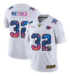 Kansas City Chiefs 32 Tyrann Mathieu Men White Nike Multi Color 2020 NFL Crucial Catch Limited NFL Jersey