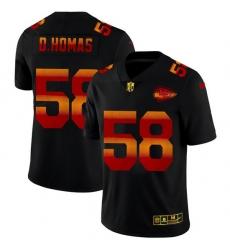 Kansas City Chiefs 58 Derrick Thomas Men Black Nike Red Orange Stripe Vapor Limited NFL Jersey